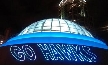 NFL Seahawkslaser  promotion over the city of Seattle